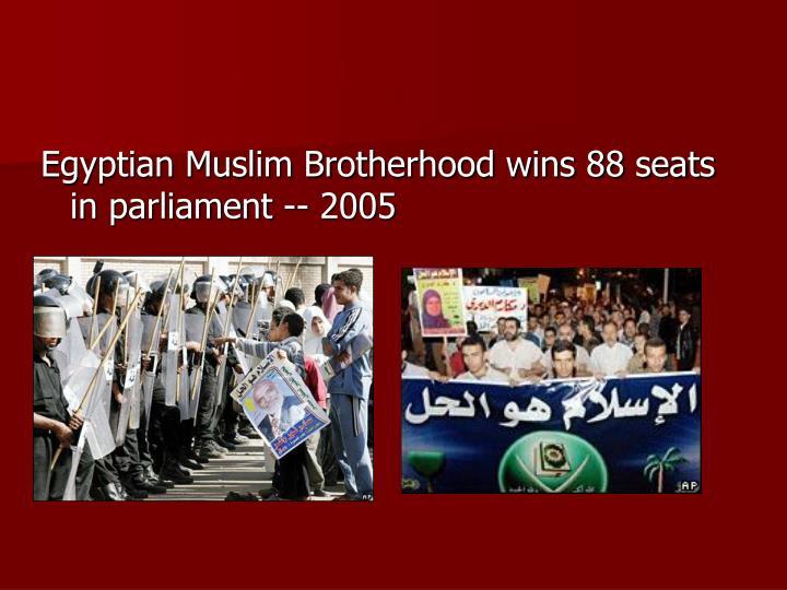 Egyptian Muslim Brotherhood wins 88 seats in parliament -- 2005