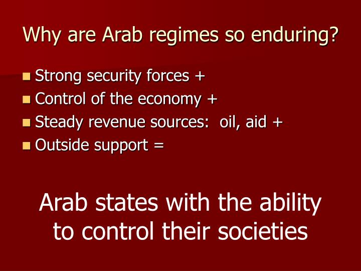 Why are Arab regimes so enduring?