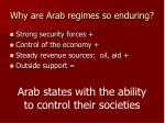 why are arab regimes so enduring