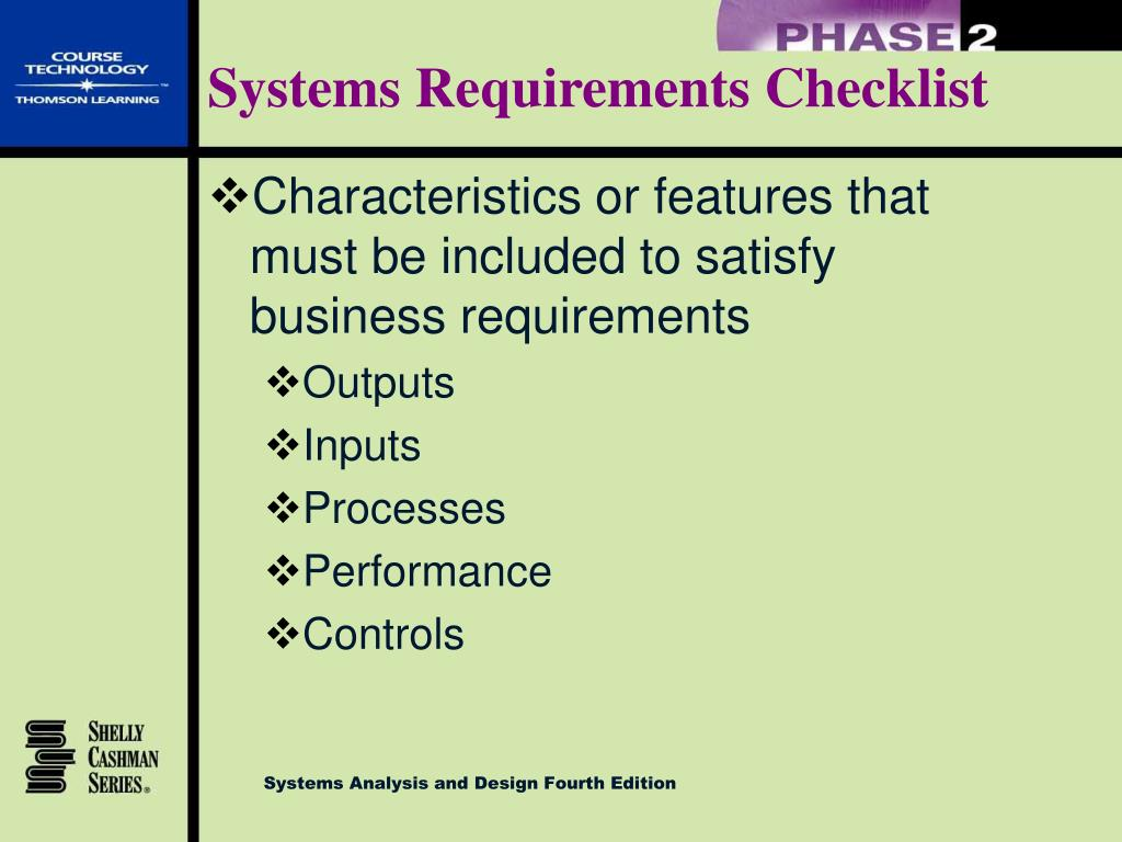 information system requirement checklist More information can be found on the use systemassert methods retrieved from .