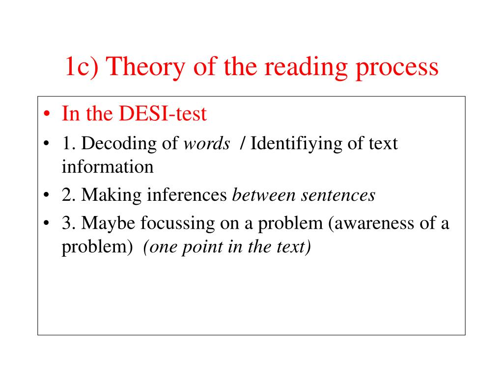 1c) Theory of the reading process