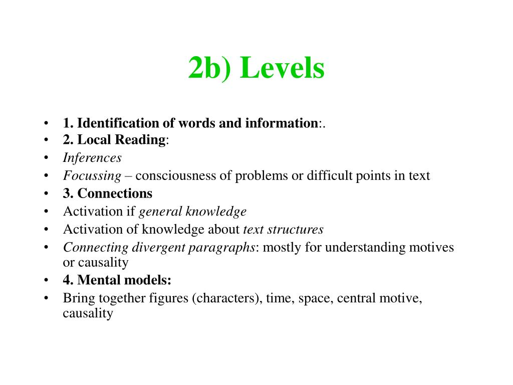 2b) Levels