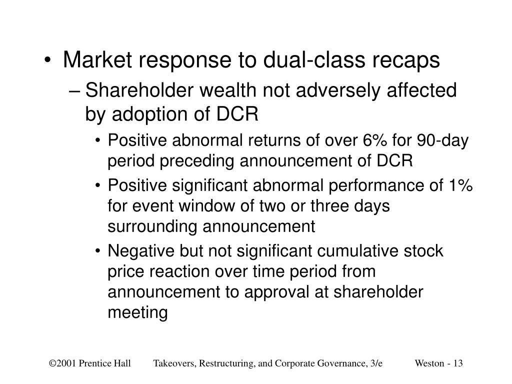 Market response to dual-class recaps