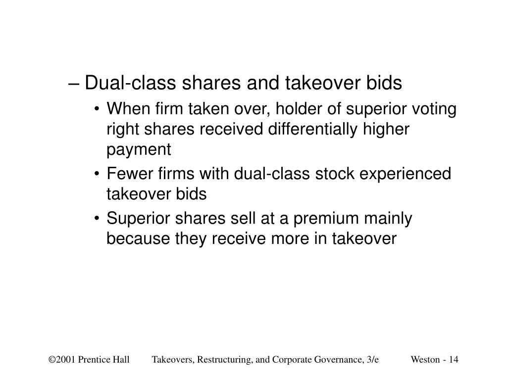 Dual-class shares and takeover bids