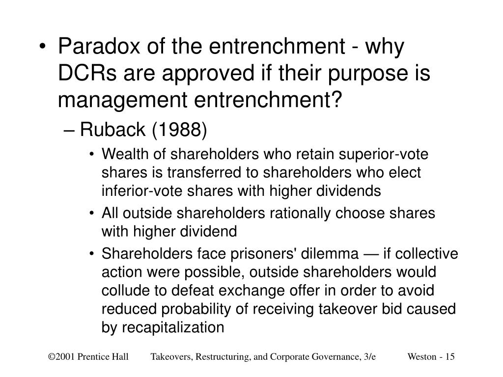 Paradox of the entrenchment - why DCRs are approved if their purpose is management entrenchment?