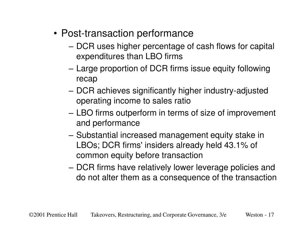Post-transaction performance
