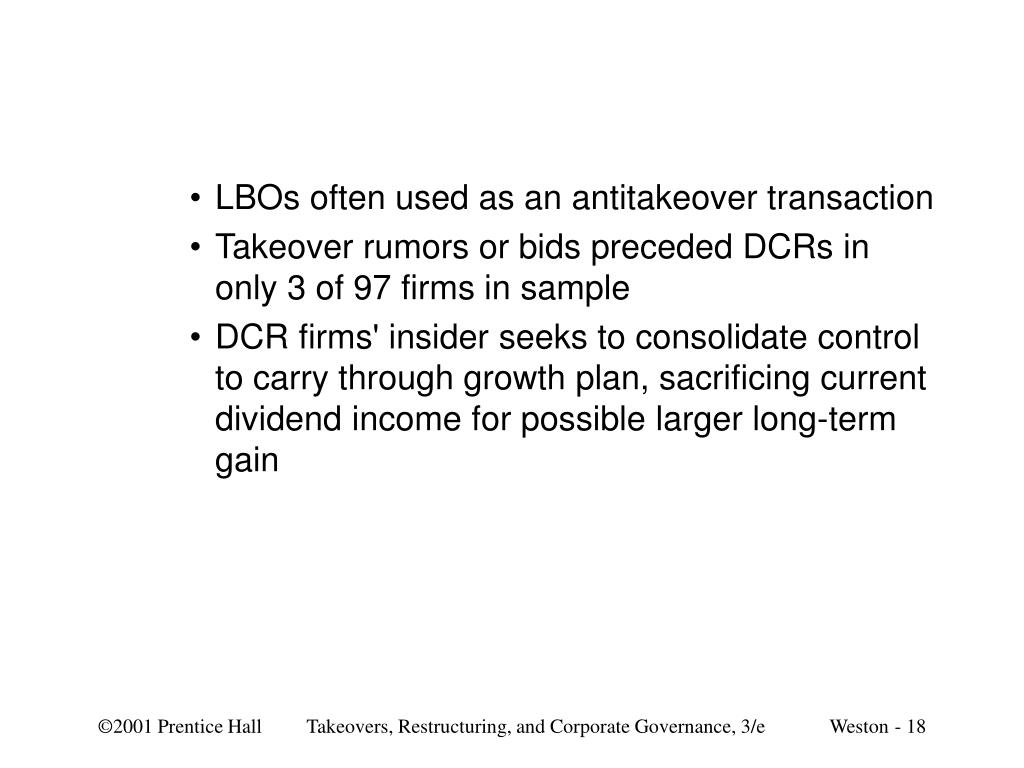 LBOs often used as an antitakeover transaction