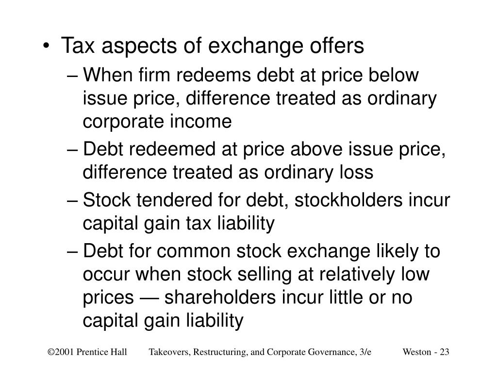 Tax aspects of exchange offers
