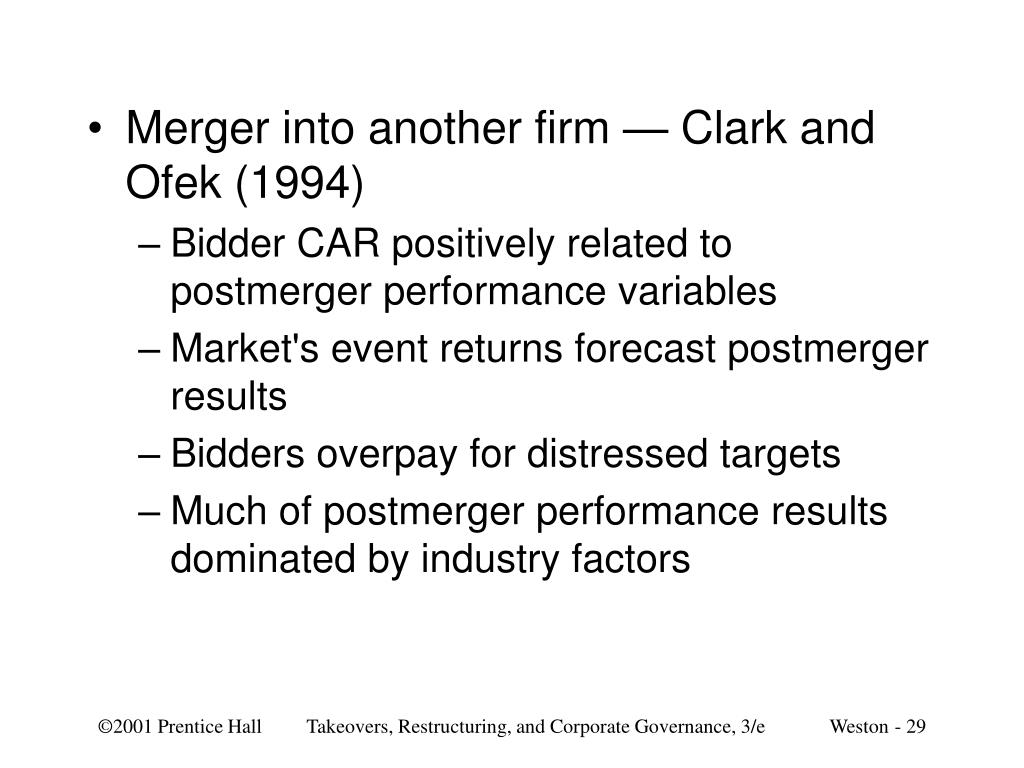 Merger into another firm — Clark and Ofek (1994)