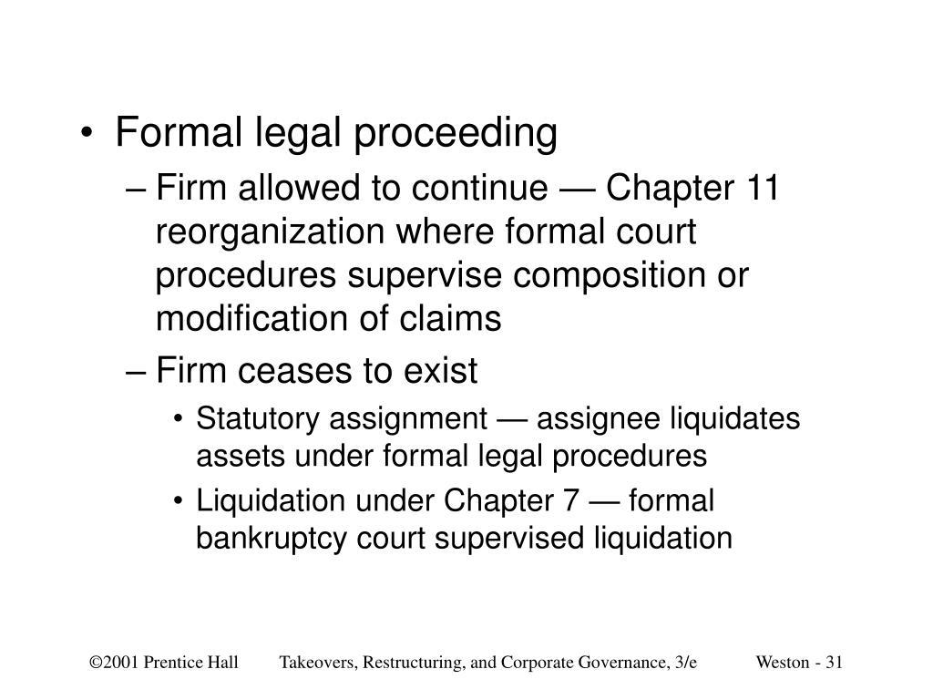 Formal legal proceeding
