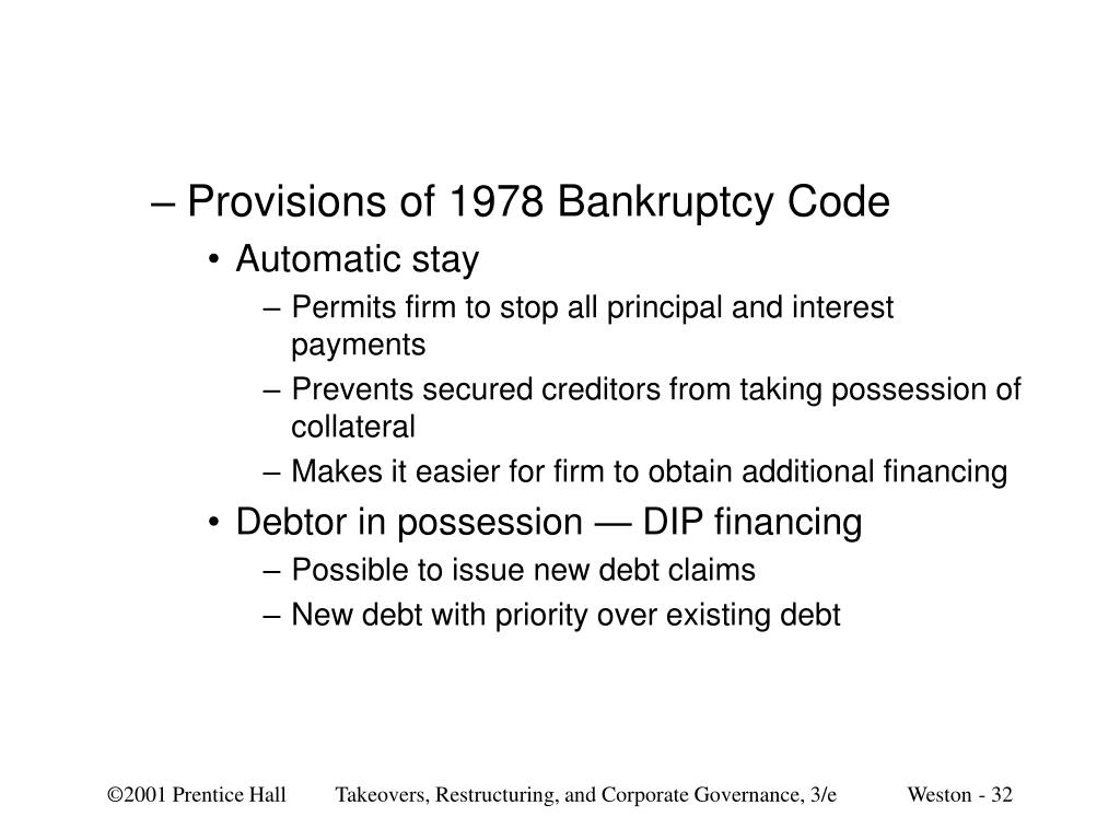 Provisions of 1978 Bankruptcy Code
