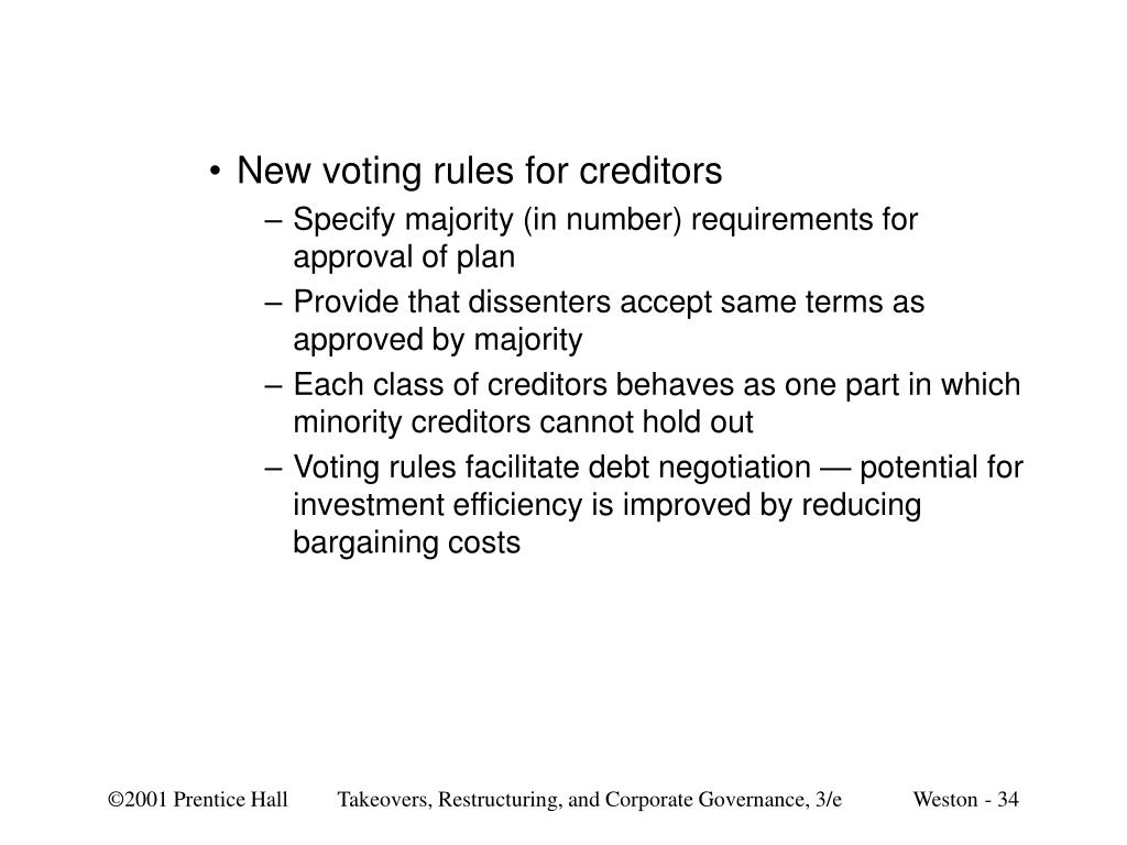 New voting rules for creditors