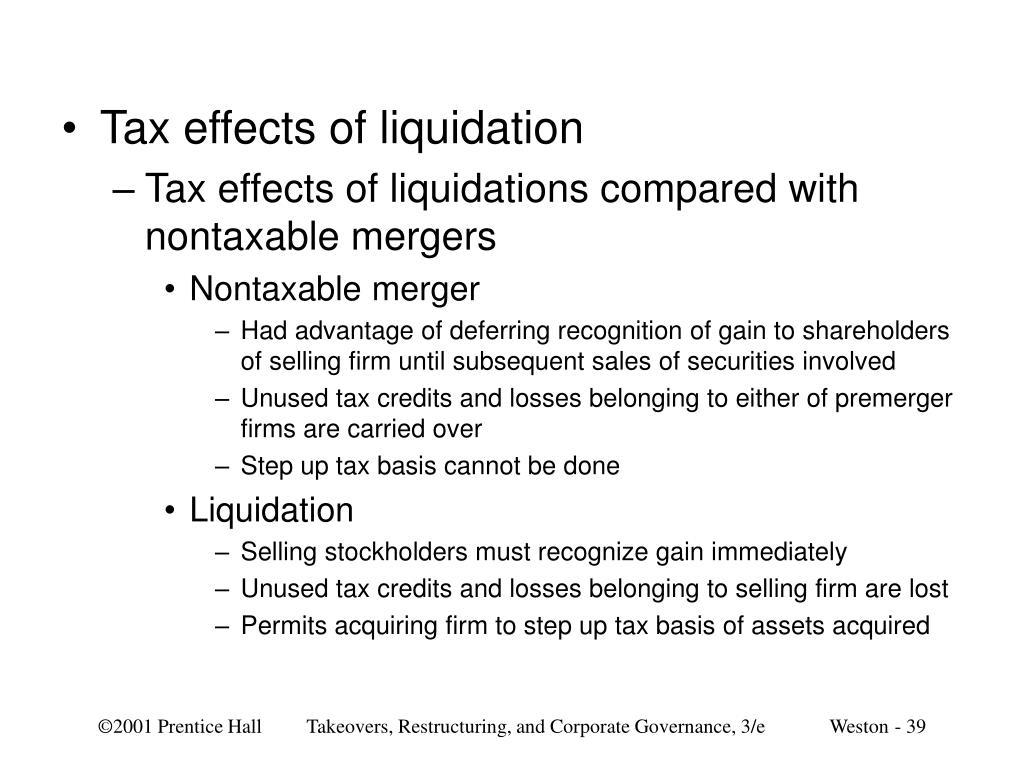 Tax effects of liquidation