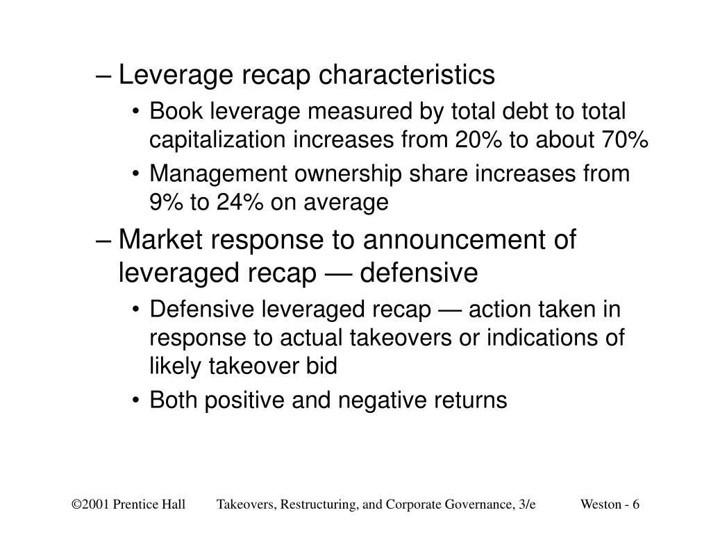 Leverage recap characteristics