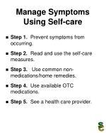 manage symptoms using self care