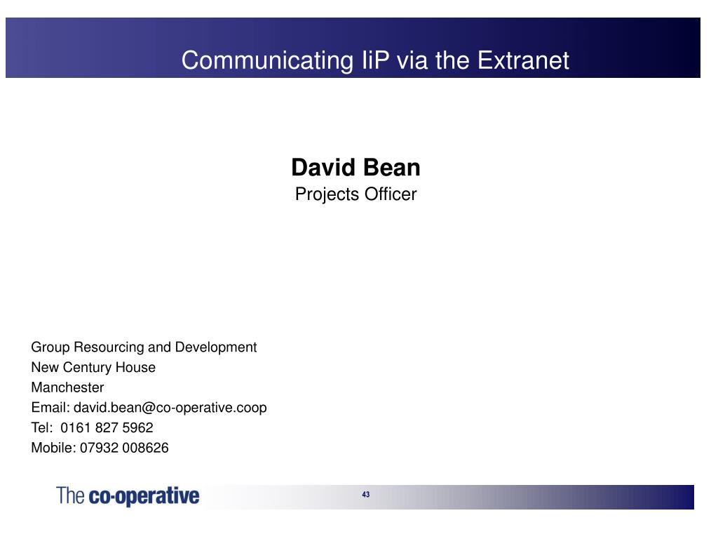 Communicating IiP via the Extranet