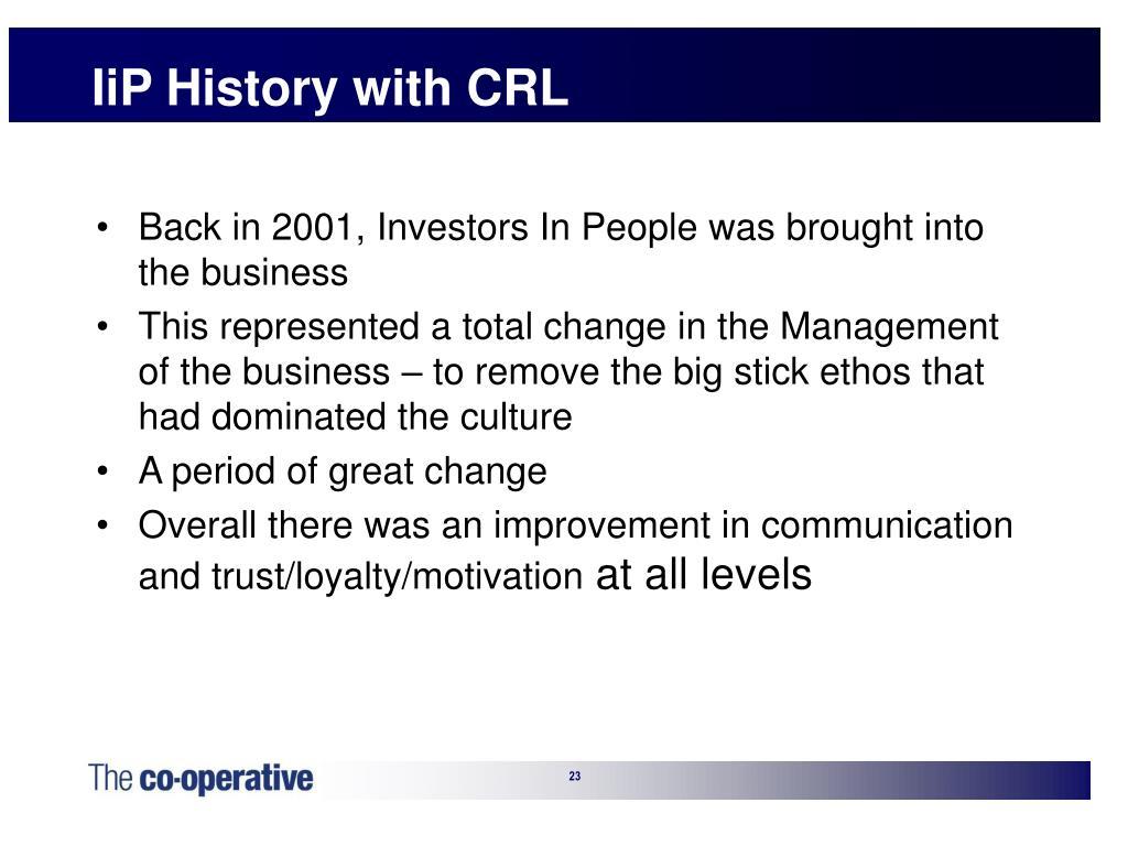 IiP History with CRL