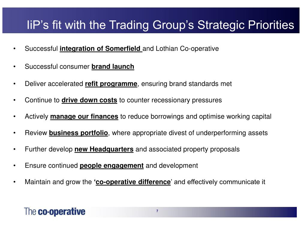 IiP's fit with the Trading Group's Strategic Priorities
