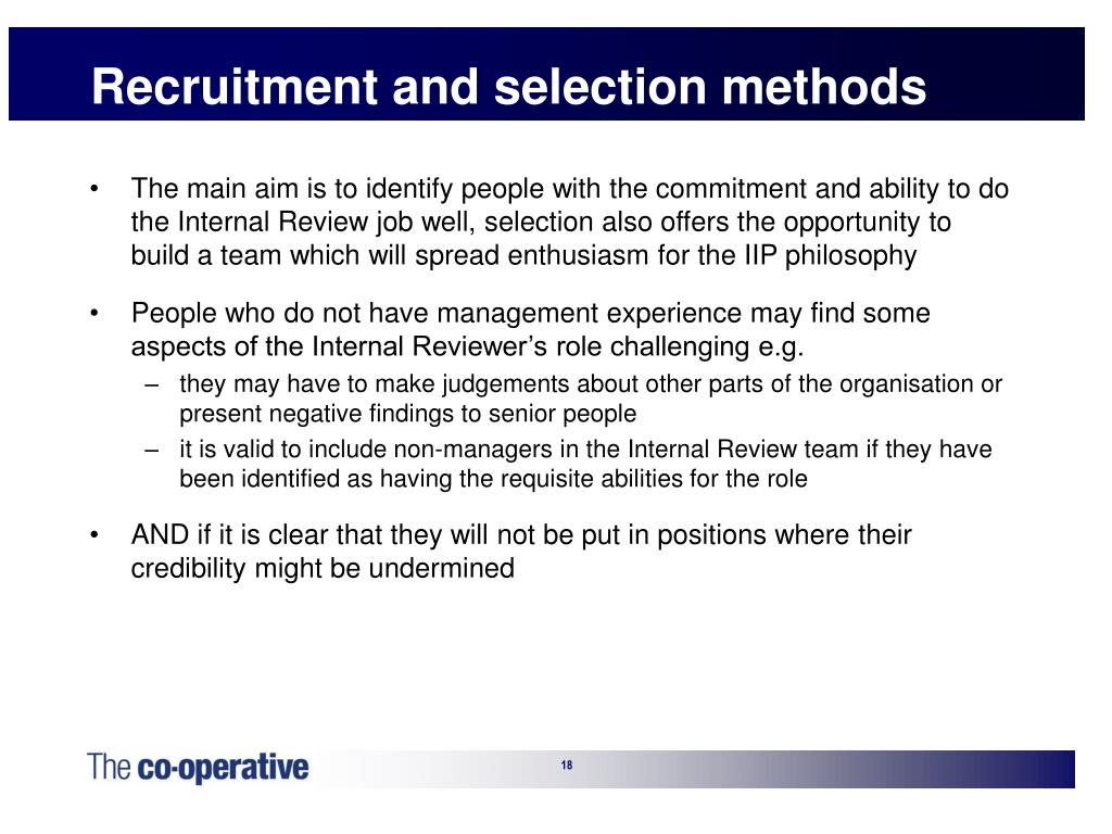 Recruitment and selection methods
