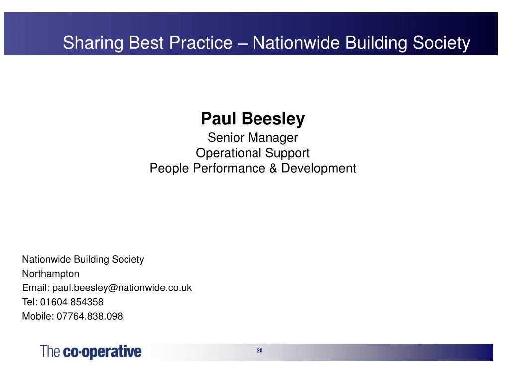 Sharing Best Practice – Nationwide Building Society