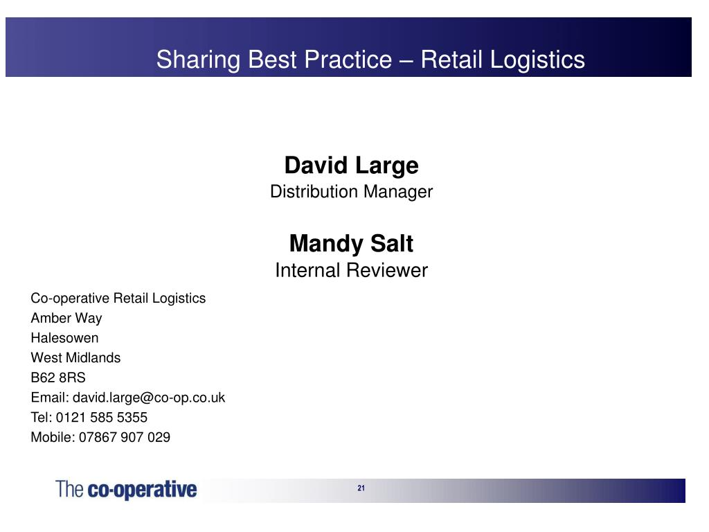Sharing Best Practice – Retail Logistics