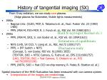 history of tangential imaging sx