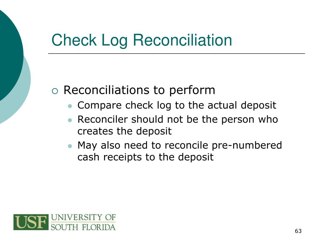 Check Log Reconciliation