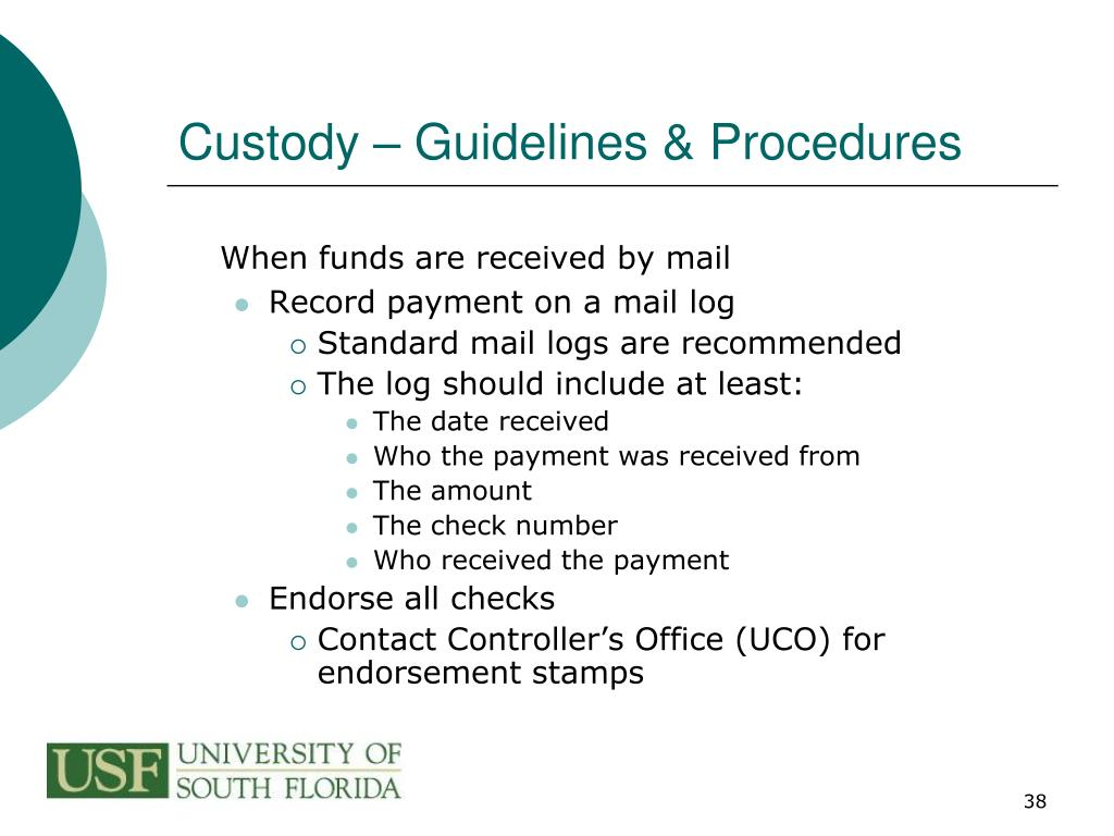 Custody – Guidelines & Procedures