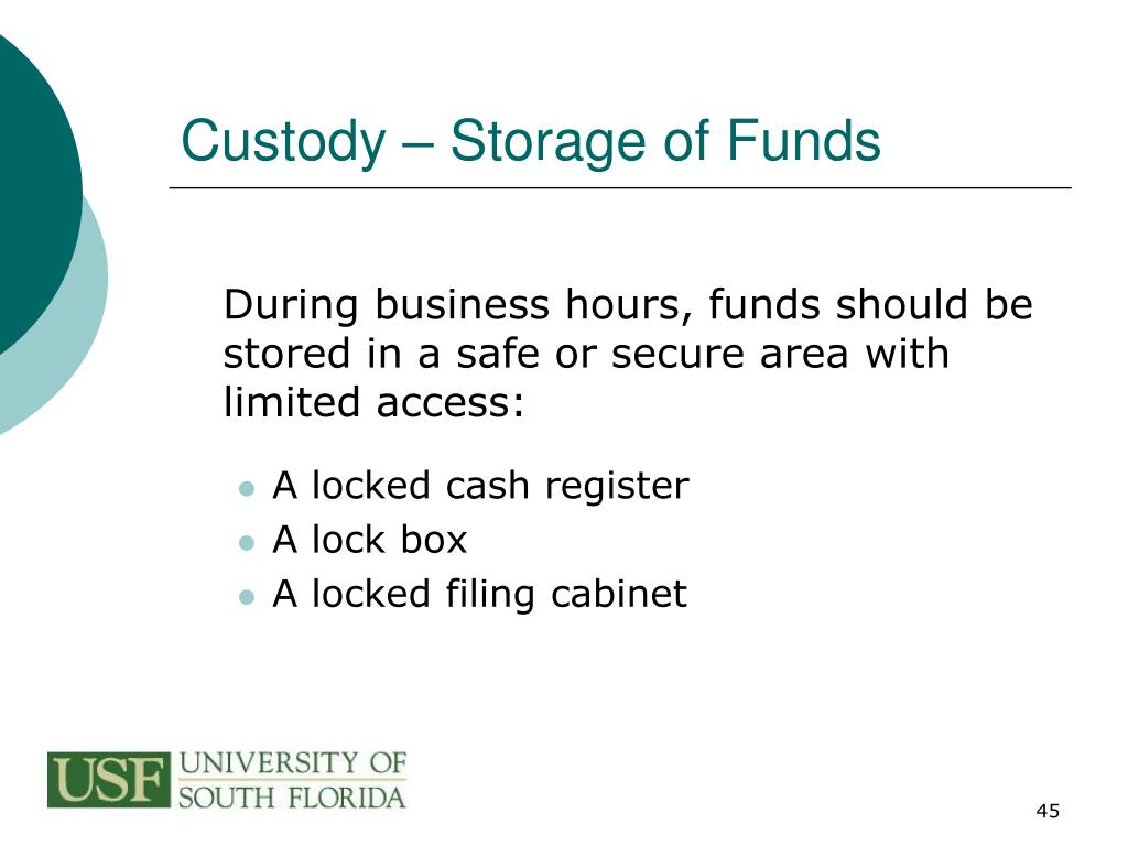 Custody – Storage of Funds