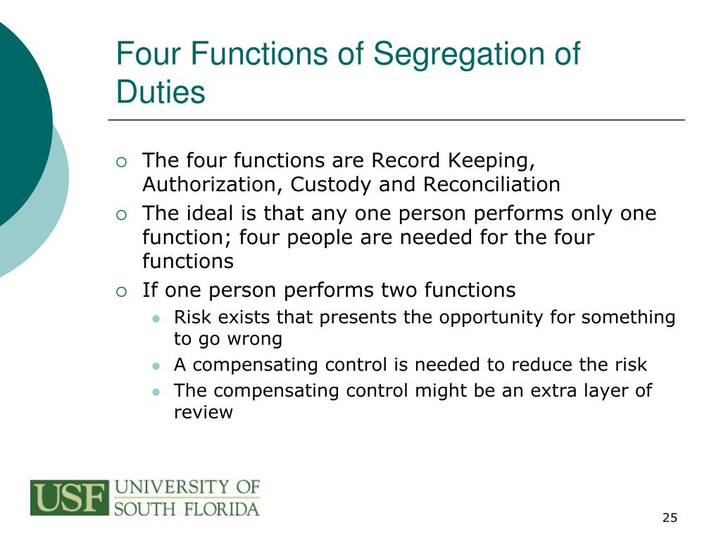 Four Functions of Segregation of Duties