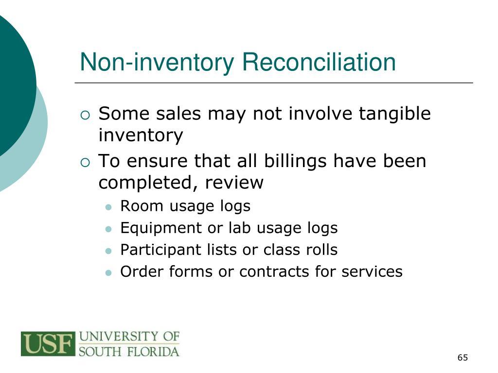 Non-inventory Reconciliation