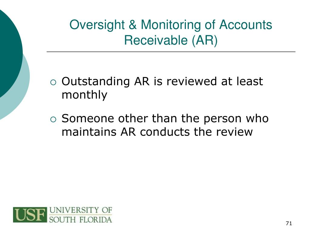 Oversight & Monitoring of Accounts Receivable (AR)