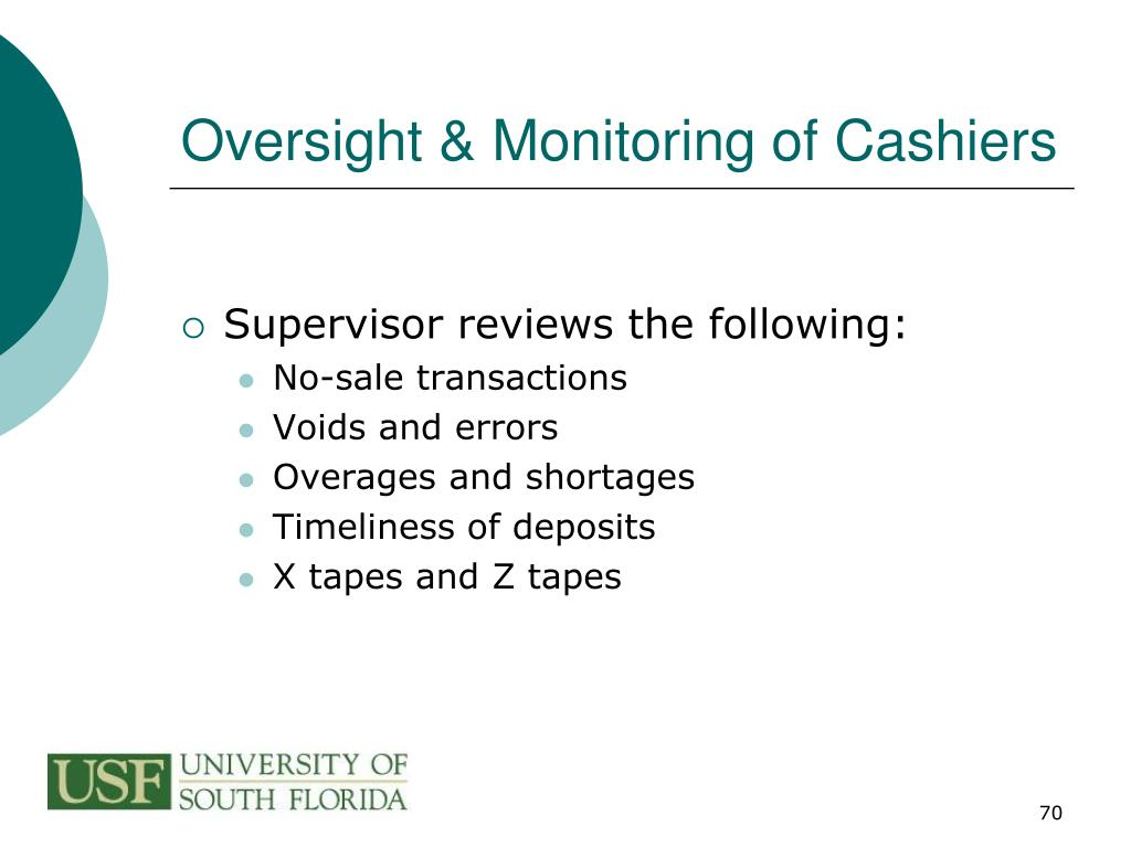 Oversight & Monitoring of Cashiers
