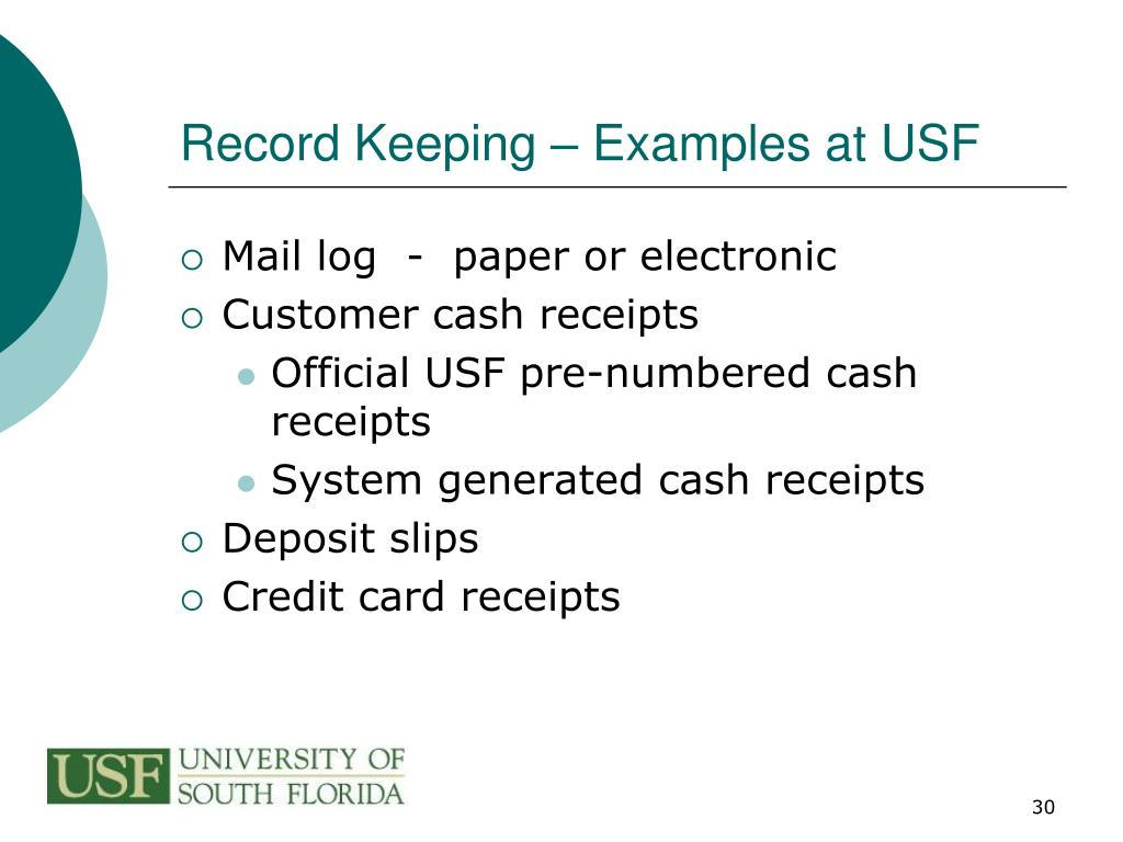 Record Keeping – Examples at USF