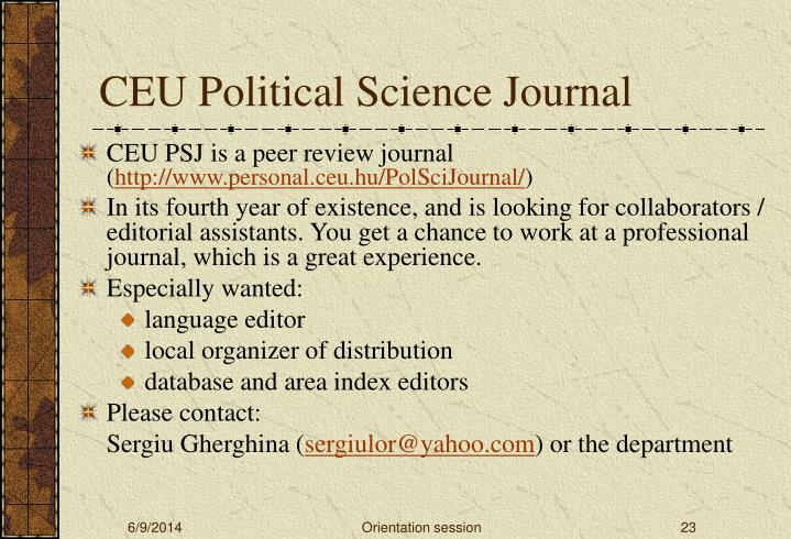 CEU Political Science Journal