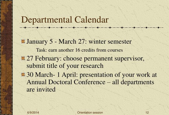 Departmental Calendar