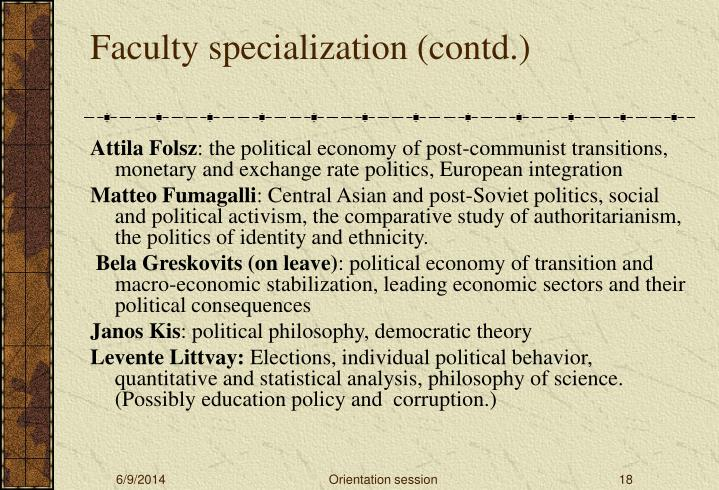 Faculty specialization (contd.)
