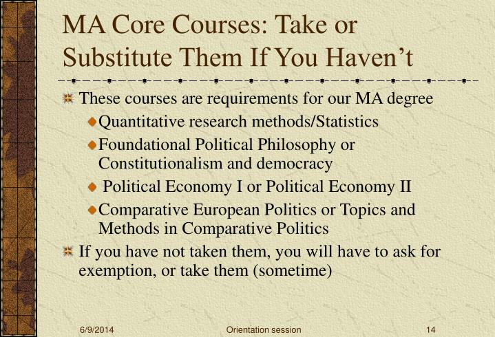 MA Core Courses: Take or Substitute Them If You Haven't