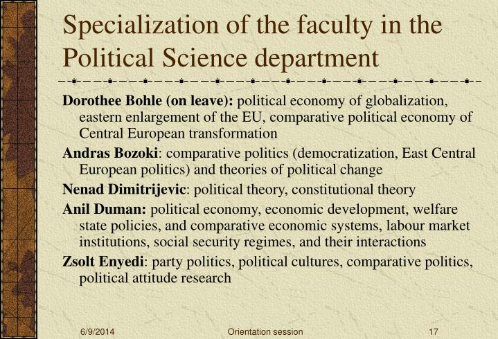 Specialization of the faculty in the Political Science department
