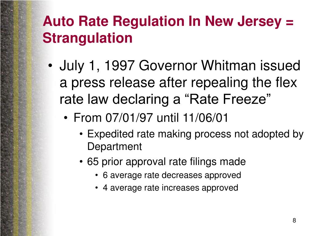 Auto Rate Regulation In New Jersey = Strangulation