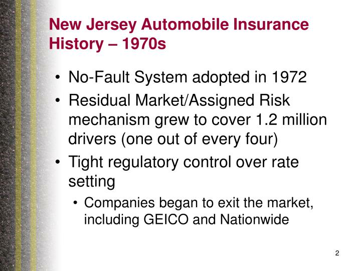 New jersey automobile insurance history 1970s