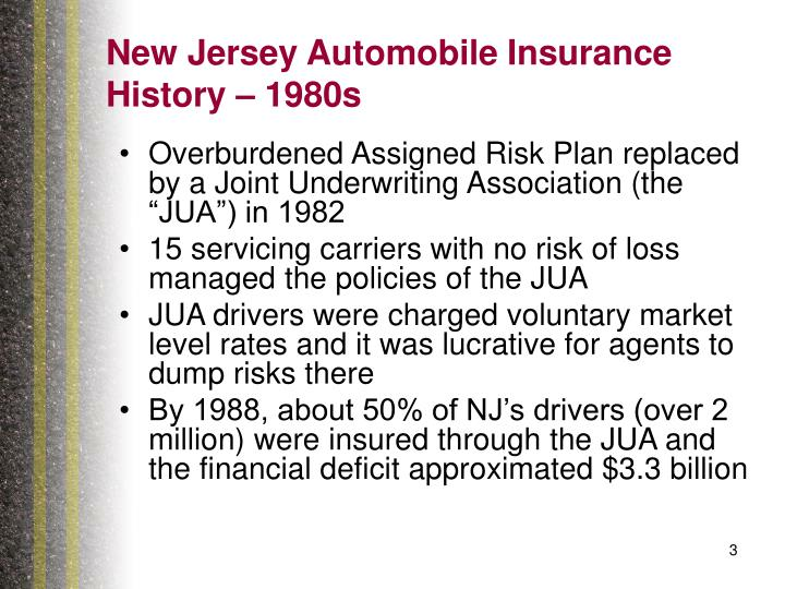 New jersey automobile insurance history 1980s