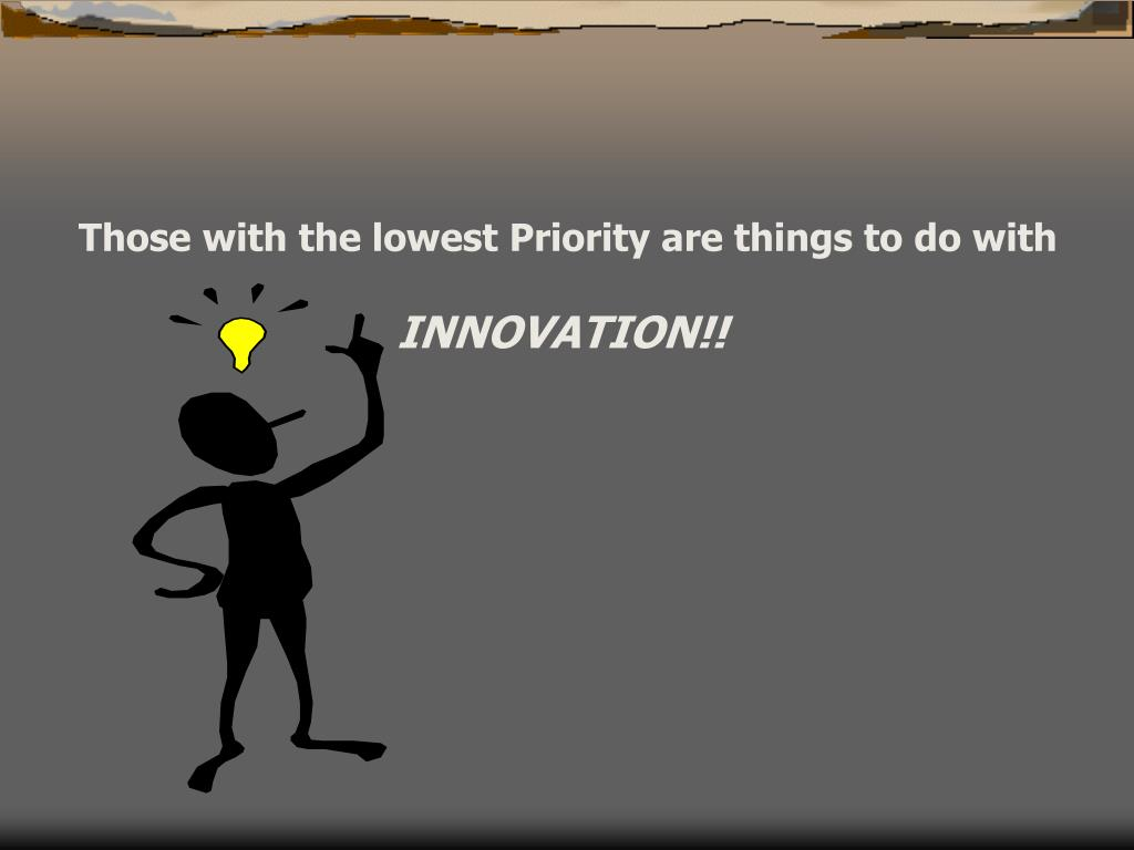 Those with the lowest Priority are things to do with