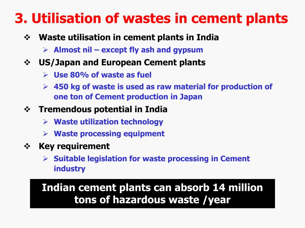 3. Utilisation of wastes in cement plants