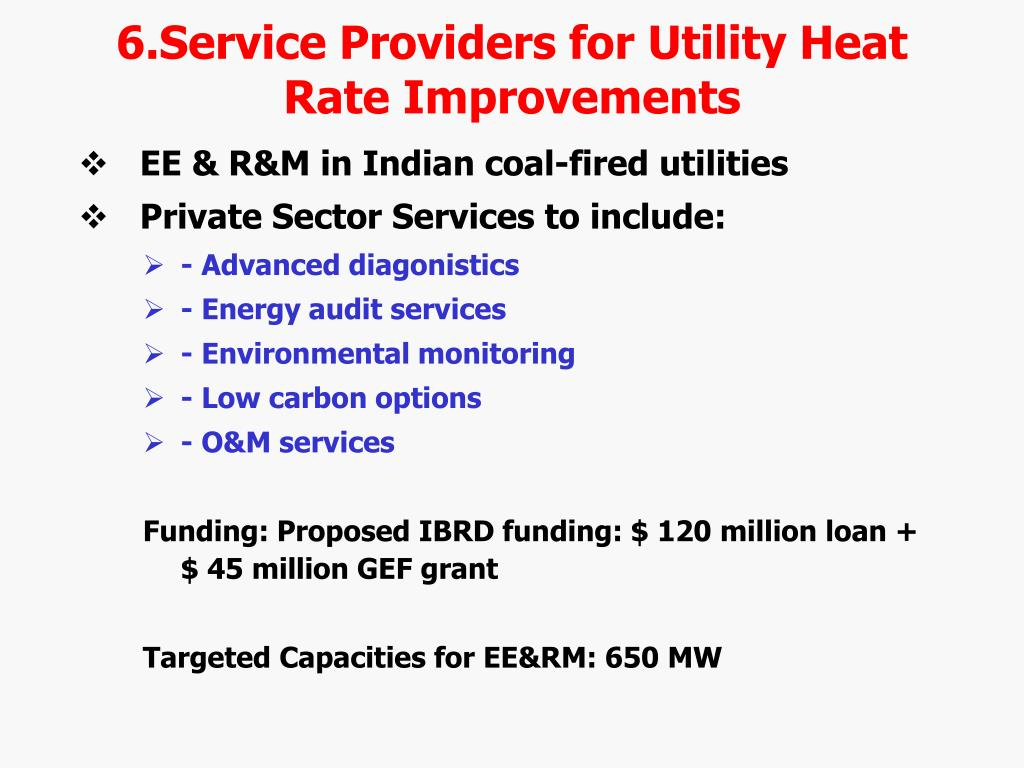 6.Service Providers for Utility Heat Rate Improvements