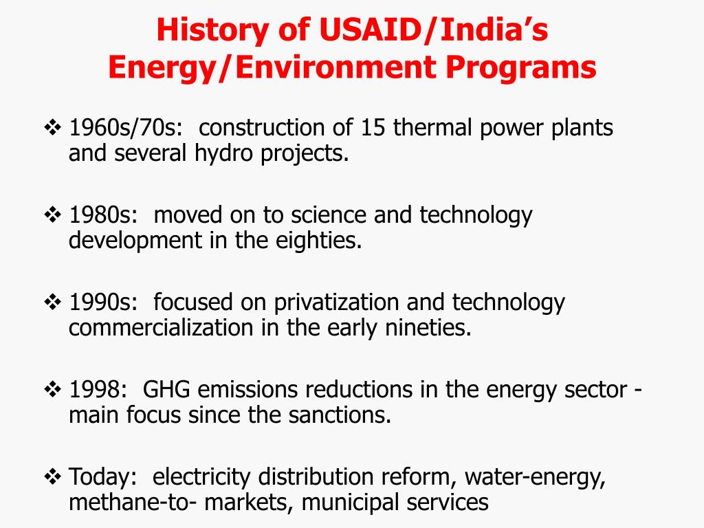 History of USAID/India's Energy/Environment Programs