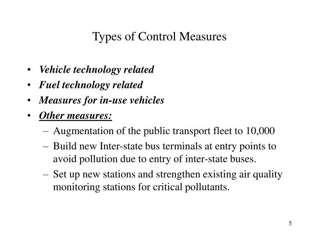 Types of Control Measures