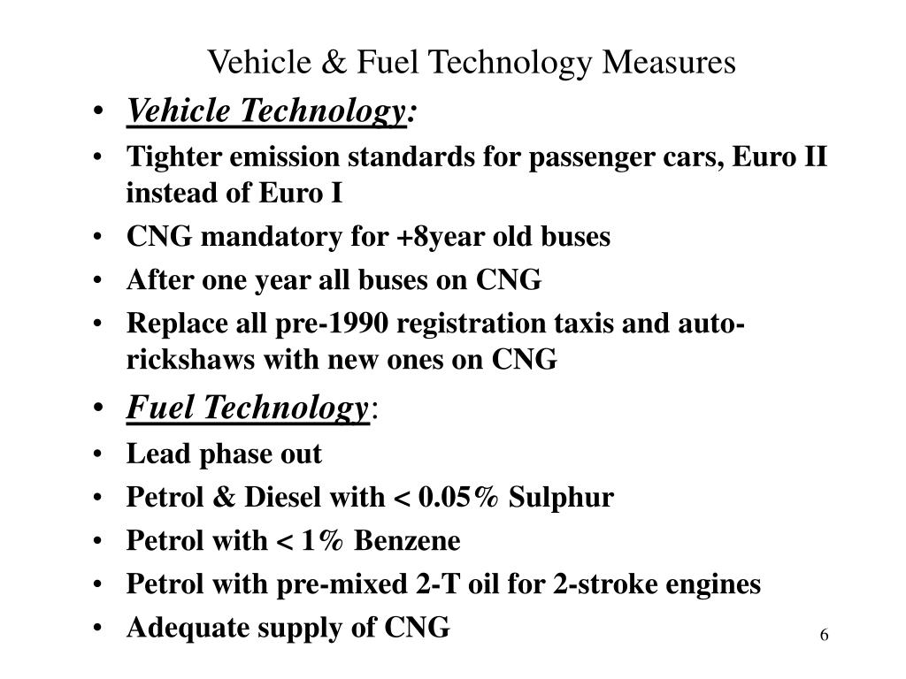 Vehicle & Fuel Technology Measures