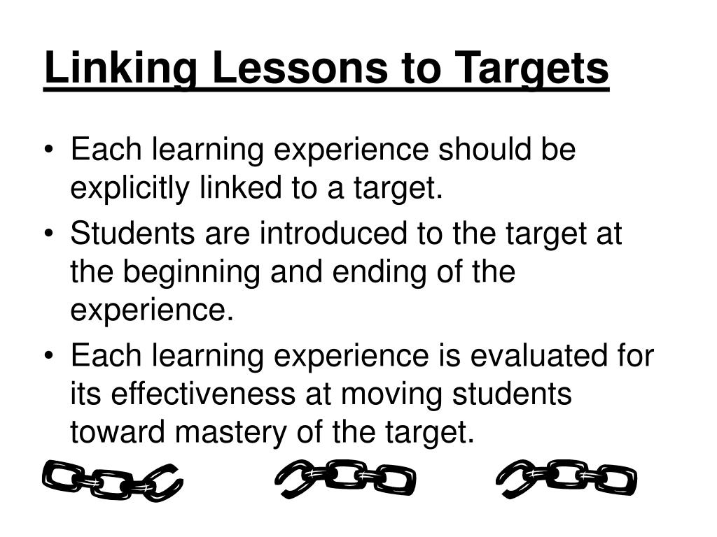 Linking Lessons to Targets