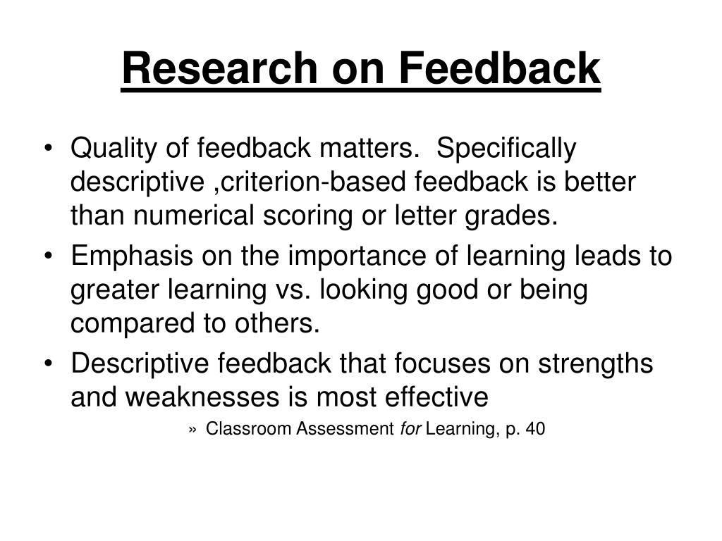 Research on Feedback